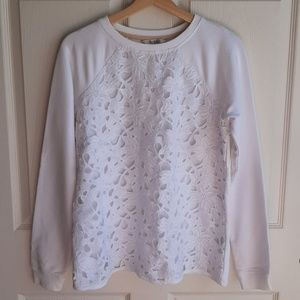 Boden White Lace Front Sweatshirt Pullover Size 8